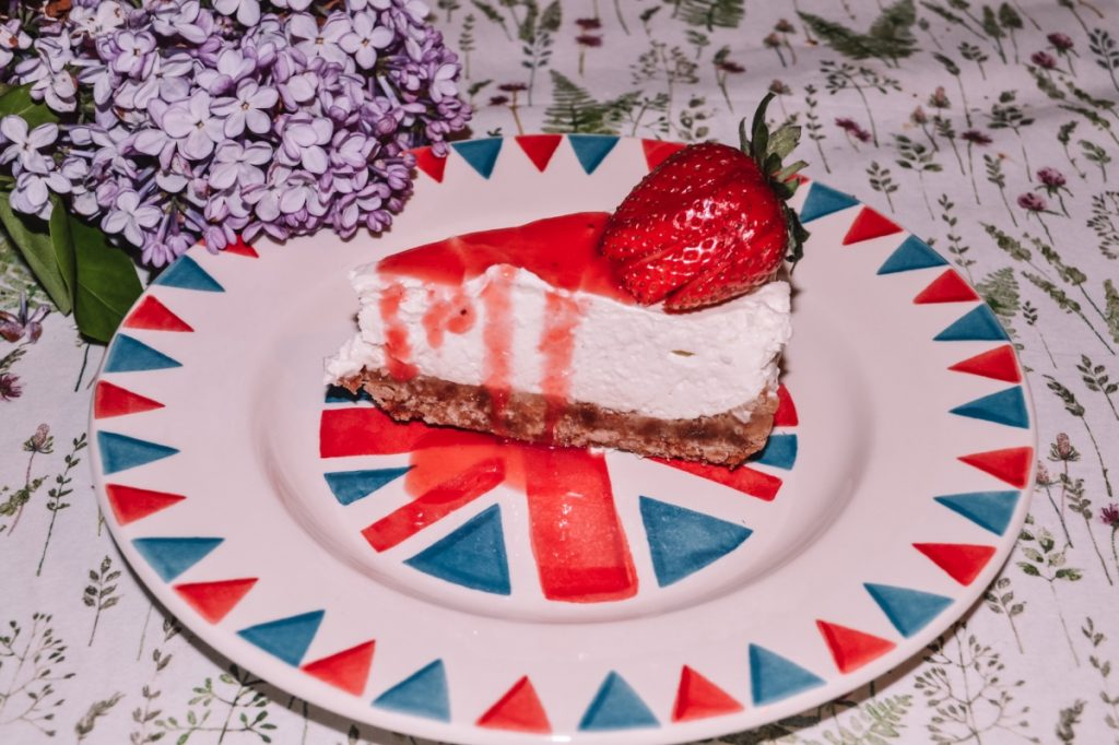 Strawberry and lotus biscuit cheesecake